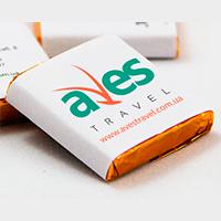 Дизайн этикеток для минишоколадок с лого